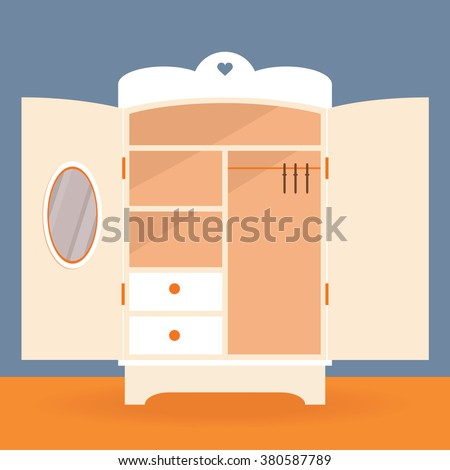 Empty Closet Vector Girl Antique Wardrobe Illustration
