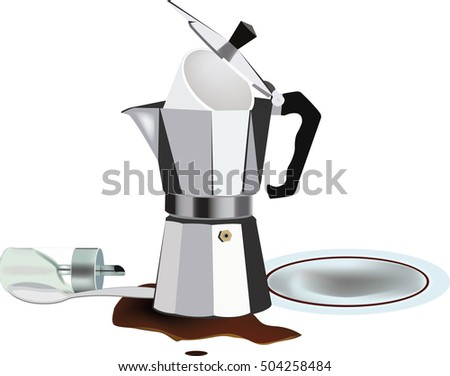 empty coffee pot with disorder and inverted sugar