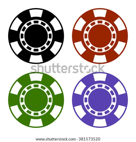 Empty Color Casino Poker Chips Set. Vector