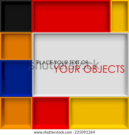 Empty colorful rectangular shelves. Abstract creative background - stock vector
