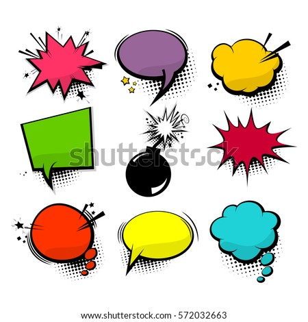 Empty comic collection colored cloud pop art vector box. Set message comic bubble speech cartoon expression illustration. Comics book background template.