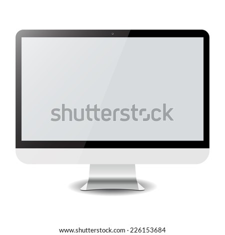 Empty computer display isolated on white. Led full hd monitor for your work. Vector illustration isolated on white background eps10