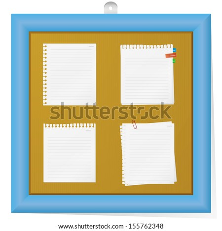 Empty cork board with collection of notes. vector. - stock vector
