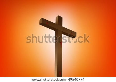 empty cross with blood stains illustration - stock vector