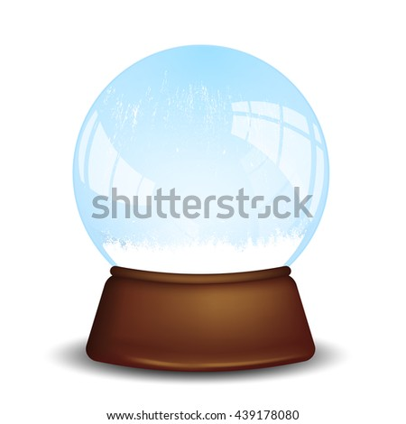 Empty crystal ball isolated over white background. Vector illustration.