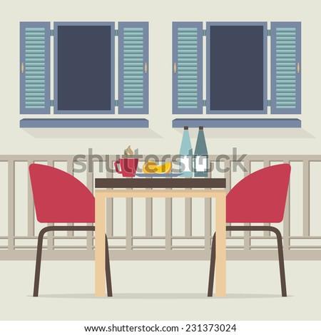 Empty Dinner Interior At Balcony Vector Illustration - stock vector