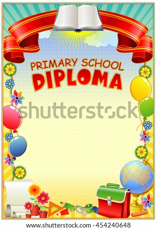 primary school diploma stock vector shutterstock empty diploma template design is in children s style balloons ribbons school bag
