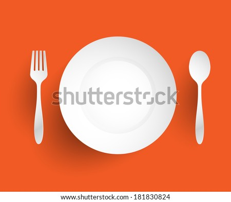 Empty dish, fork and spoon placed alongside. On orange background vector illustration - stock vector