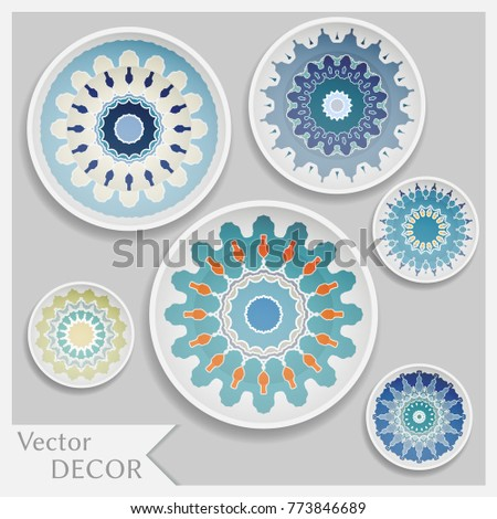 Empty dish porcelain plate mock up design isolated objects. Set of six decorative  sc 1 st  Shutterstock & Empty Dish Porcelain Plate Mock Design Stock Vector (2018) 773846689 ...