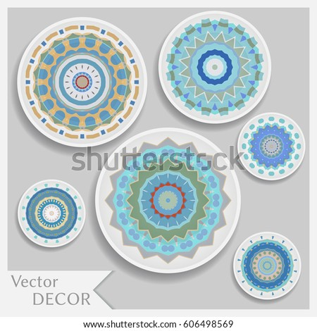 Empty dish porcelain plate mock up design isolated objects with shadow. Set of  sc 1 st  Shutterstock & Empty Dish Porcelain Plate Mock Design Stock Vector HD (Royalty Free ...