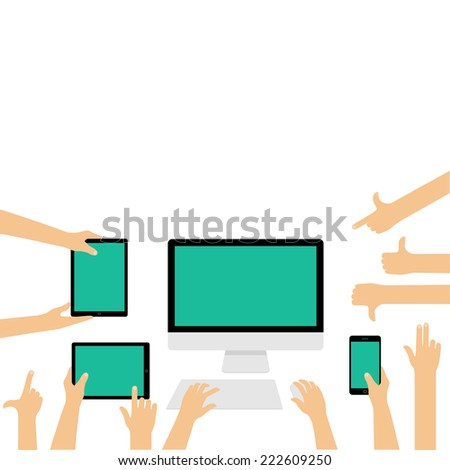 Empty displays for responsive website presentation on different devices with hand gestures - flat design illustration isolated on white background - stock vector