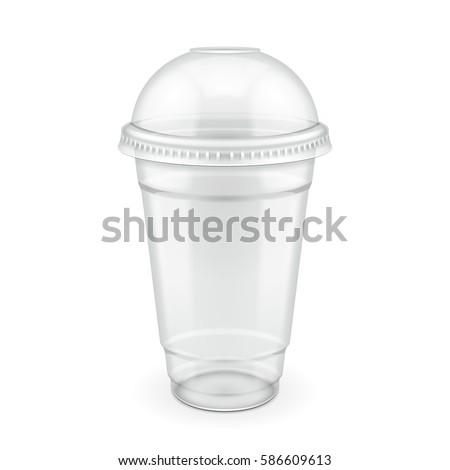 Empty Disposable Plastic Milkshake Cup Lid Stock Vector