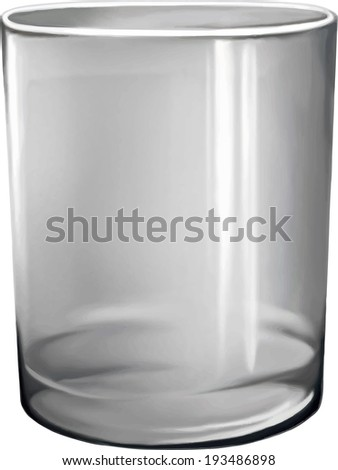 Empty drinking glass cup. Transparent glass. - stock vector
