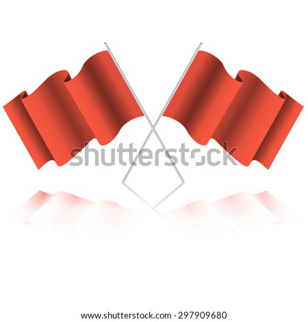 Empty flag. Blank red flag. Red banner with folds, separate shadows for on any color. Vector Red Blank Flag Isolated on white Background - stock vector