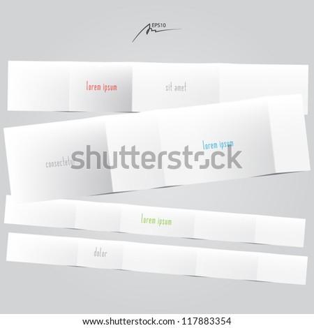 empty folded paper - vector design elements - stock vector