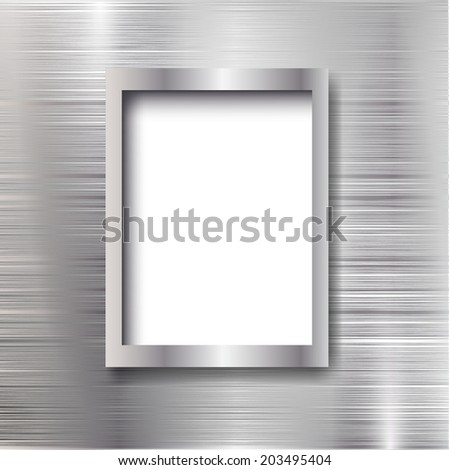 Empty frame on the metal background. Vector illustration.  - stock vector