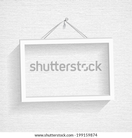 Empty frame picture on the white canvas texture. Vector illustration - stock vector