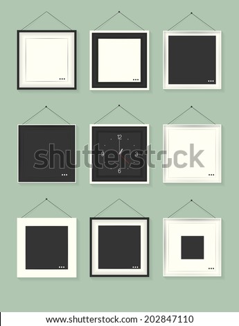Empty frame with on green background Watch in frame. vector illustration - stock vector