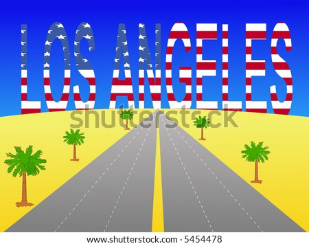 Empty freeway towards Giant Los Angeles text with American flag - stock vector