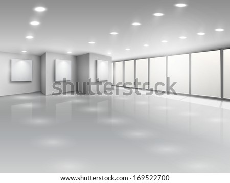 Empty gallery interior with light windows vector illustration - stock vector