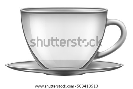 Empty glass cup with a plate. Vector illustration.