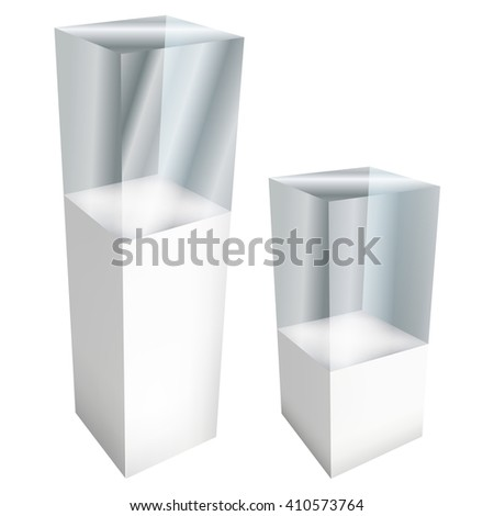 Empty glass large and small showcases for exhibit. 3D Vector illustration isolated on white background. Trade show booth white and blank pedestal with glass box for expo design.  - stock vector