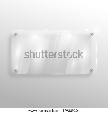 Empty glass on wall, vector - stock vector