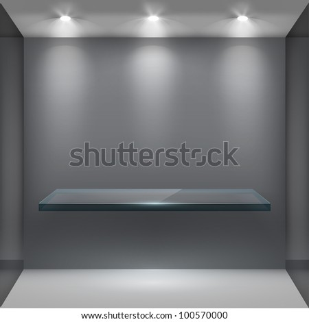 Empty glass shelf in room, illuminated by searchlights. Part of set. Vector interior. - stock vector