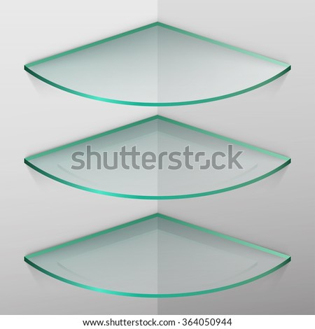 empty glass shelves - stock vector