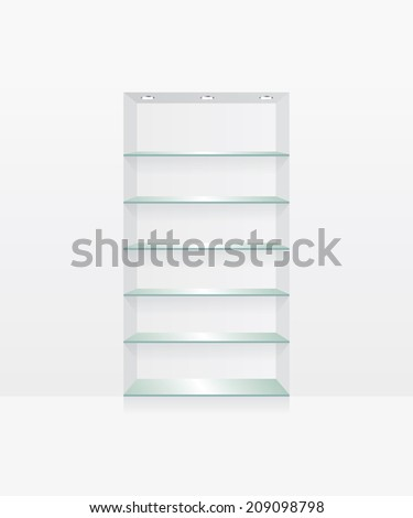 Empty glass shelves on white wall - stock vector