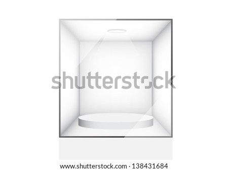 Empty glass showcase - stock vector