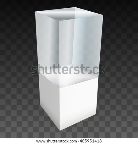 Empty glass showcase for exhibit. 3D Vector illustration on black transparent background. Trade show booth white and blank pedestal with glass box for expo design.  - stock vector