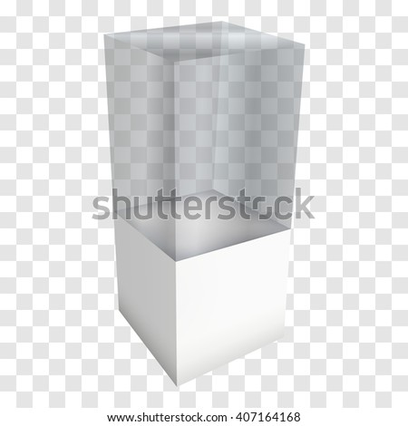Empty glass showcase for exhibit. 3D Vector illustration on transparent white background. Trade show booth white and blank pedestal with glass box for expo design.  - stock vector