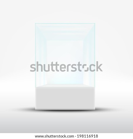 Empty glass showcase for exhibit isolated on white background - stock vector