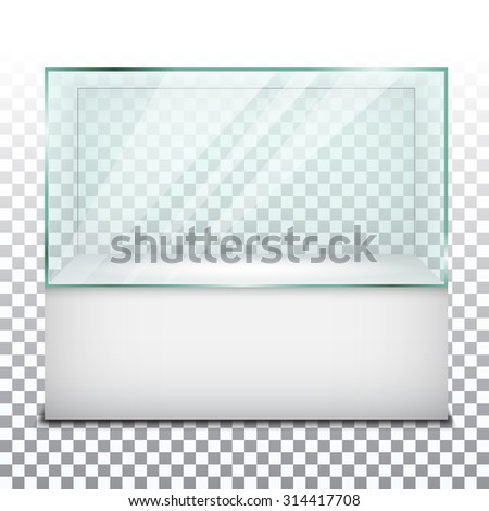 Empty glass showcase. Vector Illustration - stock vector