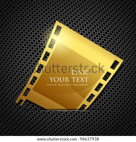 Empty gold camera film roll, vector illustration - stock vector