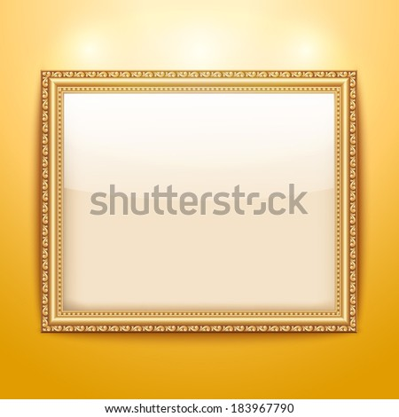 Empty gold frame hanging on the wall - stock vector