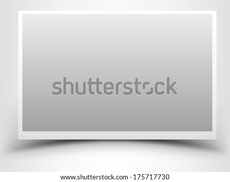 Empty gray photo frame with shadow - stock vector