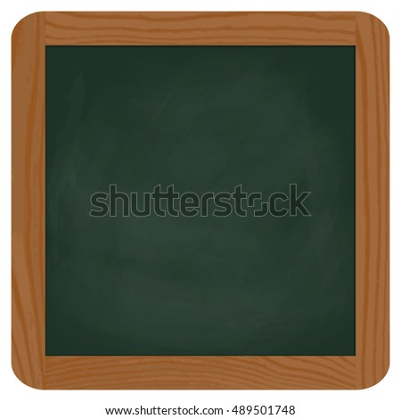empty green chalk board with brown wooden frame