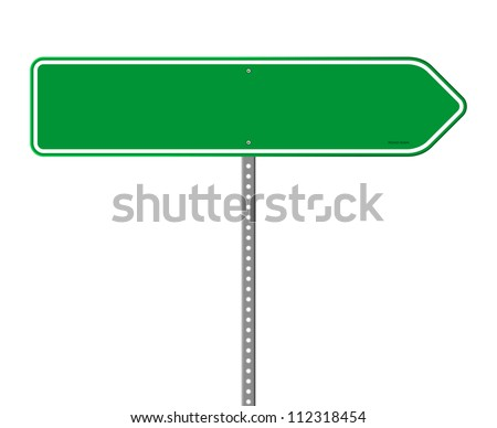 Empty Green Direction Sign - Blank roadsign in green color isolated on white background - stock vector