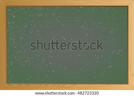 Empty Green school chalkboard background texture with frame vector. Template for your design. Vector illustration EPS10