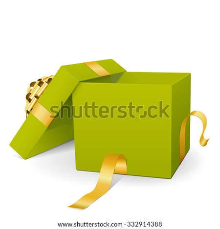 Empty Green Vector Gift Box Icon with Golden Package Ribbon Isolated on White Background - For Christmas Season, Easter Season, Valentines Day and Birthday Greeting Cards - Present with Open Lid - stock vector