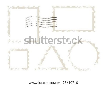 Empty grunge post stamp - stock vector