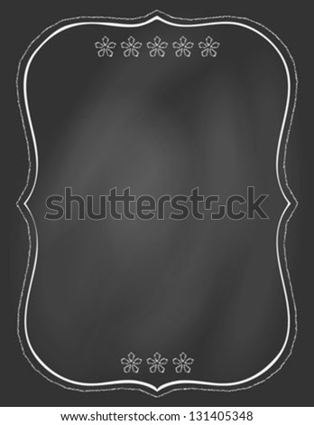 empty hand drawn ornamental frame on blackboard, vector illustration, poster template, restaurant or cafe menu, invitation card - stock vector
