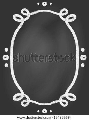 Empty hand drawn ornamented curly frame on blackboard, vector illustration, poster template, restaurant or cafe menu, invitation card. Concept image for cafe, coffee or tea shop, back to school ad - stock vector