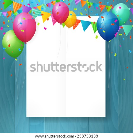 empty happy birthday greeting card with balloons and flags on wood background. isolated from background. layered - stock vector