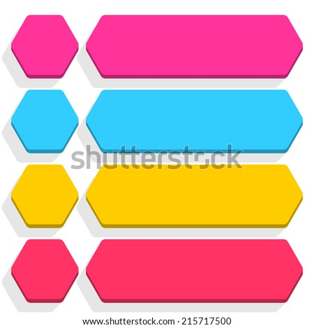 Empty hexagon and rounded rectangle icon with long gray shadow on white background in flat style. Set 03 pink, blue, yellow, magenta colors button. Vector illustration web design element in 8 eps - stock vector