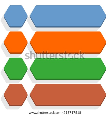 Empty hexagon and rounded rectangle icon with long gray shadow on white background in flat style. Set 01 blue, orange, green, brown colors button. Vector illustration web design element in 8 eps - stock vector