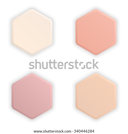 Empty hexagonal 3d buttons with shadow for multimedia, website elements or apps. Vector element of graphic design - stock vector