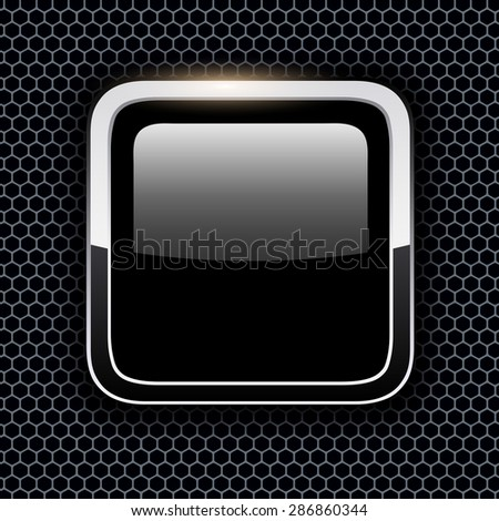 Empty icon with chrome metal frame, Rounded square black button with hexagon texture background, vector illustration. - stock vector